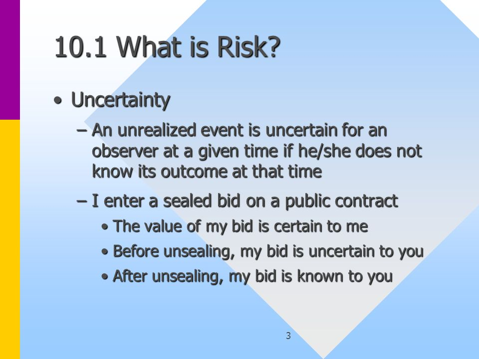 3 10.1 What is Risk.