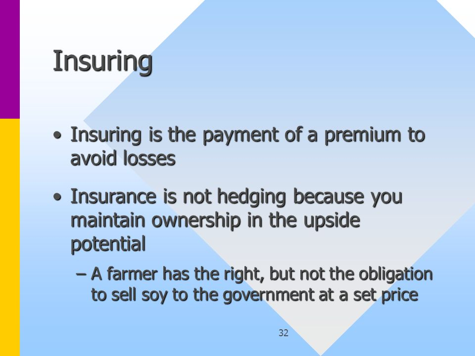 32 Insuring Insuring is the payment of a premium to avoid lossesInsuring is the payment of a premium to avoid losses Insurance is not hedging because you maintain ownership in the upside potentialInsurance is not hedging because you maintain ownership in the upside potential –A farmer has the right, but not the obligation to sell soy to the government at a set price