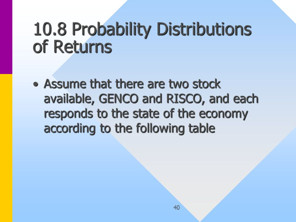 40 10.8 Probability Distributions of Returns Assume that there are two stock available, GENCO and RISCO, and each responds to the state of the economy according to the following tableAssume that there are two stock available, GENCO and RISCO, and each responds to the state of the economy according to the following table