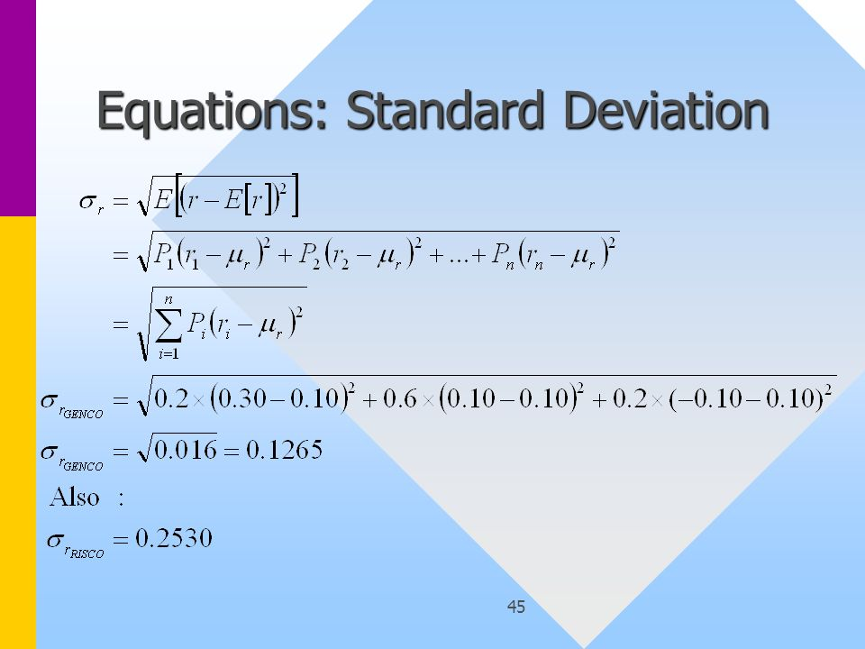 45 Equations: Standard Deviation
