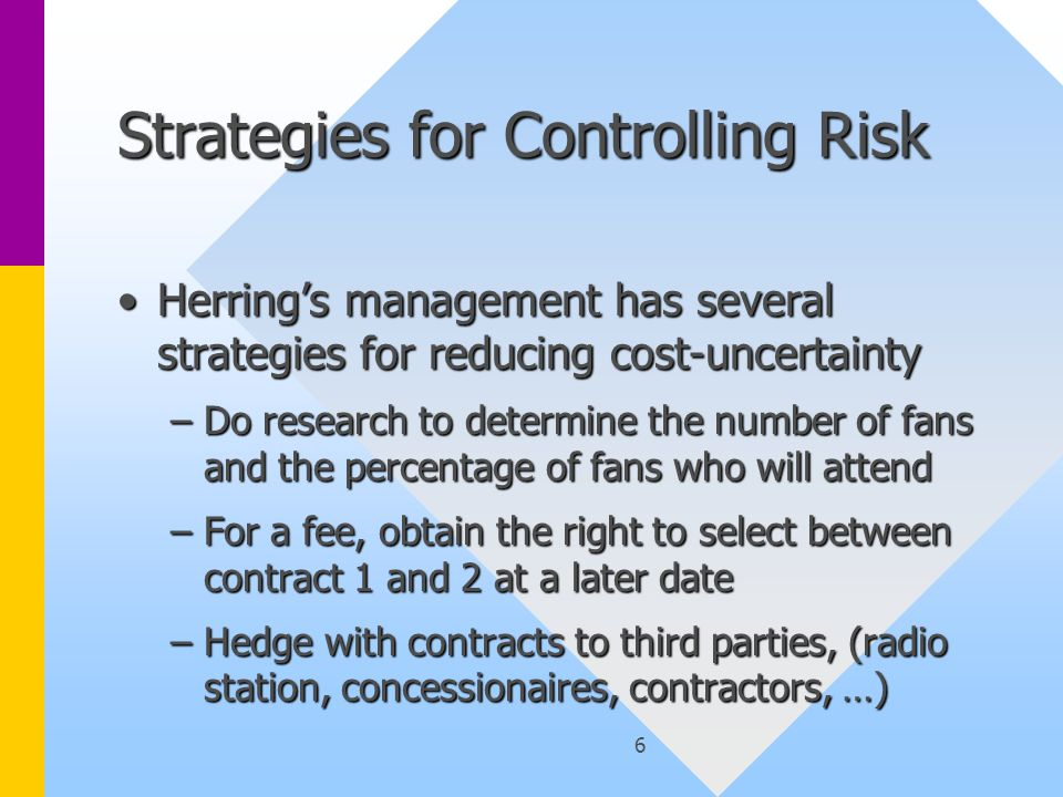 6 Strategies for Controlling Risk Herring's management has several strategies for reducing cost-uncertaintyHerring's management has several strategies for reducing cost-uncertainty –Do research to determine the number of fans and the percentage of fans who will attend –For a fee, obtain the right to select between contract 1 and 2 at a later date –Hedge with contracts to third parties, (radio station, concessionaires, contractors, …)