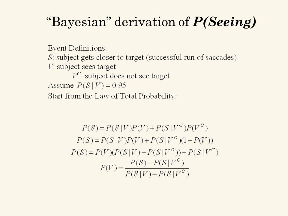 Bayesian derivation of P(Seeing)