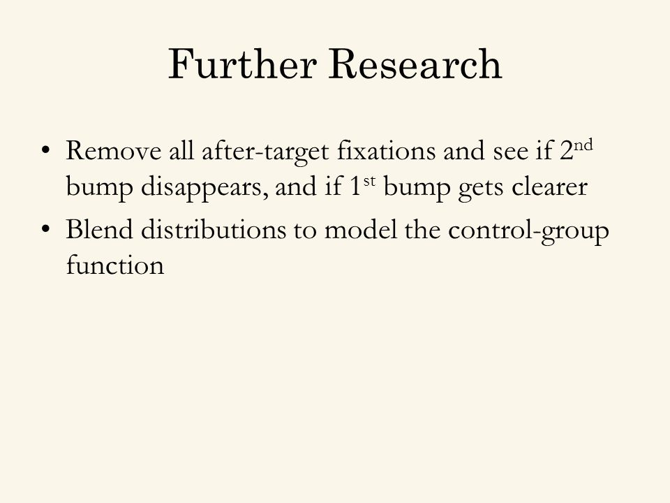 Further Research Remove all after-target fixations and see if 2 nd bump disappears, and if 1 st bump gets clearer Blend distributions to model the control-group function