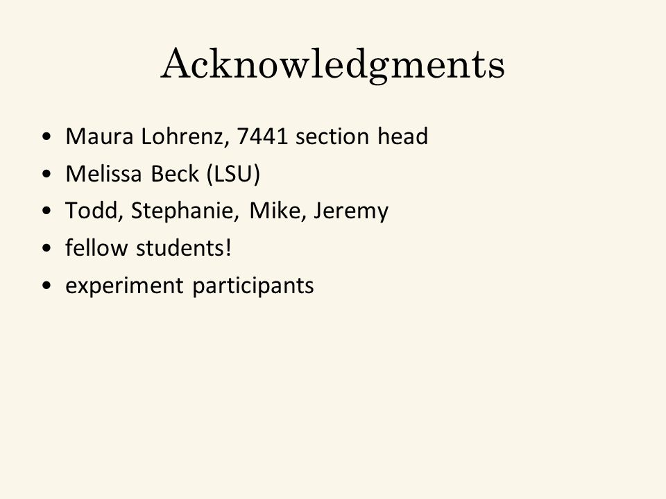 Acknowledgments Maura Lohrenz, 7441 section head Melissa Beck (LSU) Todd, Stephanie, Mike, Jeremy fellow students.