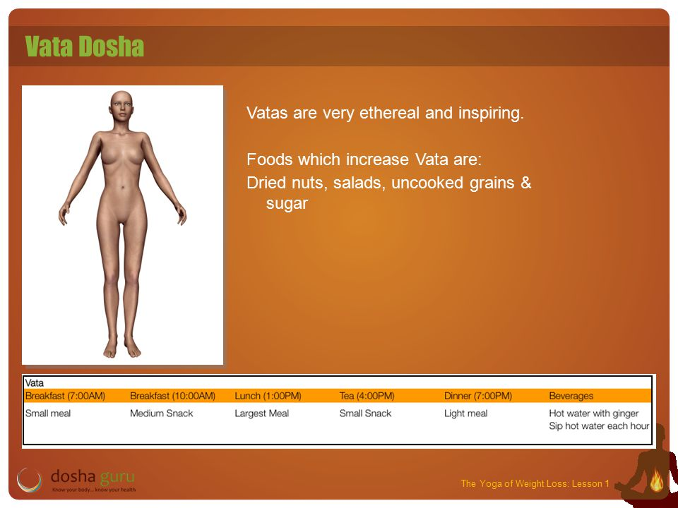 The Yoga of Weight Loss: Lesson 1 Vata Dosha Vatas are very ethereal and inspiring.