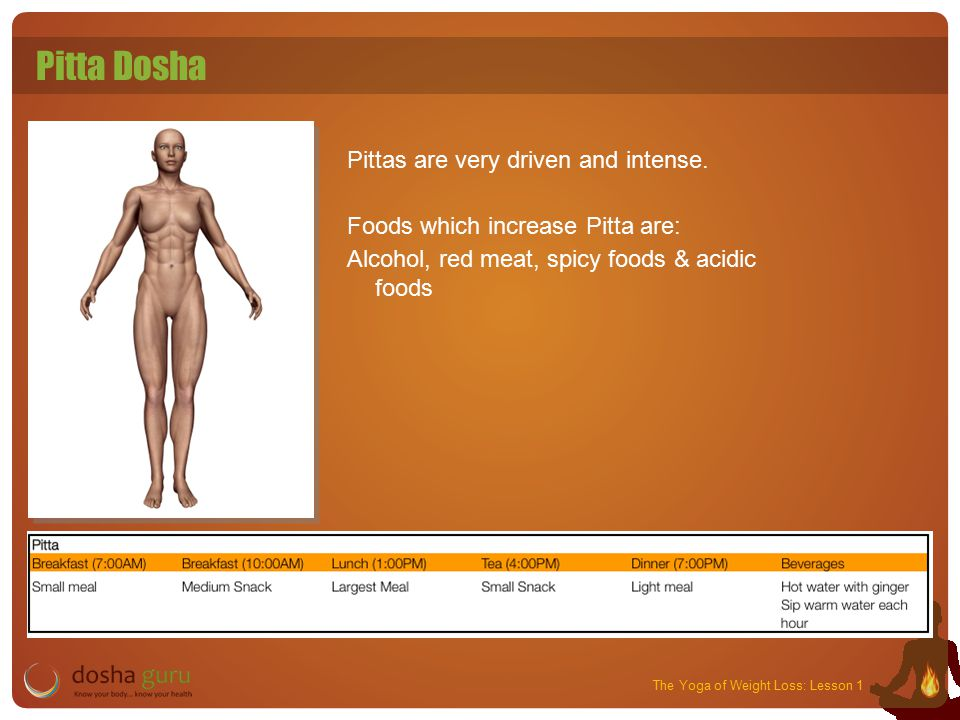 The Yoga of Weight Loss: Lesson 1 Pitta Dosha Pittas are very driven and intense.
