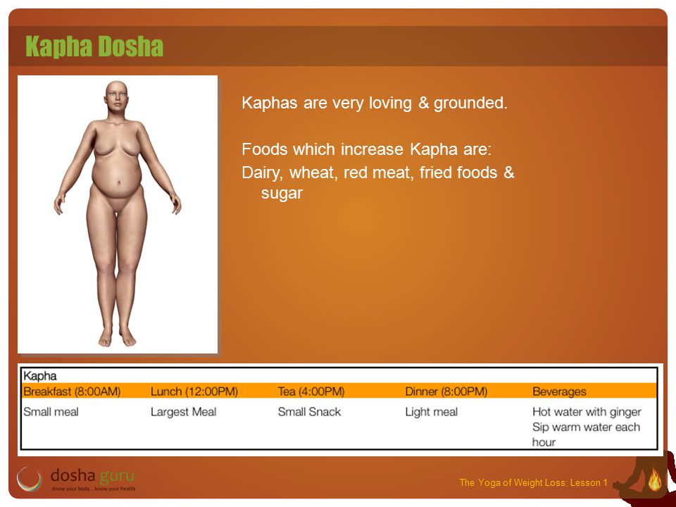 The Yoga of Weight Loss: Lesson 1 Kapha Dosha Kaphas are very loving & grounded.