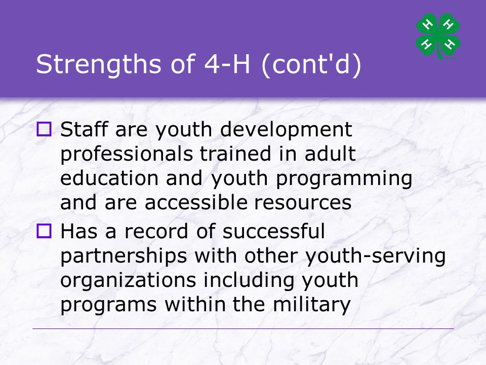 4-H Colors  Green represents nature s most common color and is emblematic of youth, life and growth.