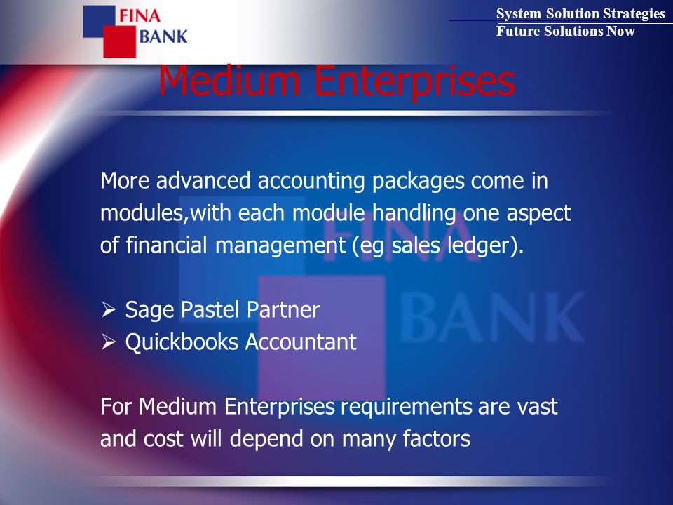 System Solution Strategies Future Solutions Now Medium Enterprises More advanced accounting packages come in modules,with each module handling one aspect of financial management (eg sales ledger).
