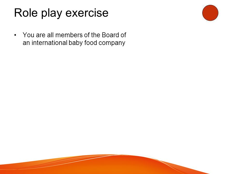 Role play exercise You are all members of the Board of an international baby food company