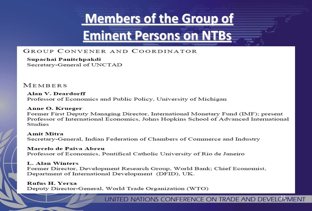 11 Members of the Group of Eminent Persons on NTBs Members of the Group of Eminent Persons on NTBs