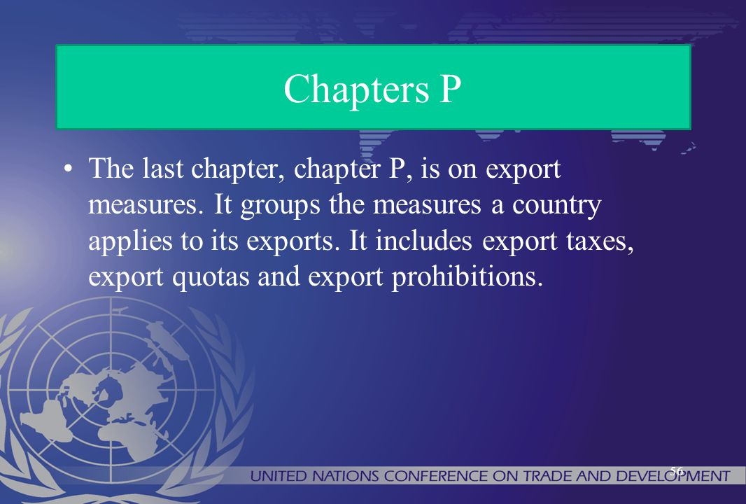 The last chapter, chapter P, is on export measures. It groups the measures a country applies to its exports. It includes export taxes, export quotas a
