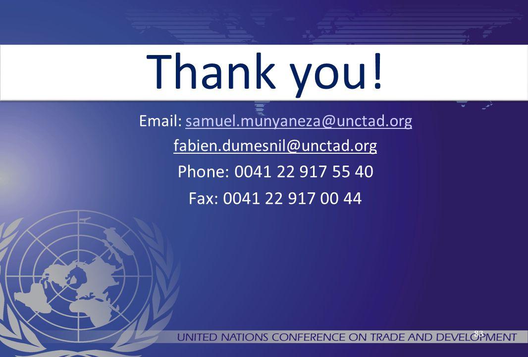 83 Email: samuel.munyaneza@unctad.orgsamuel.munyaneza@unctad.org fabien.dumesnil@unctad.org Phone: 0041 22 917 55 40 Fax: 0041 22 917 00 44 Thank you!