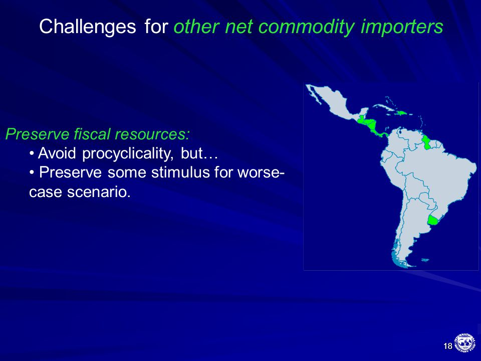 18 18 Challenges for other net commodity importers Preserve fiscal resources: Avoid procyclicality, but… Preserve some stimulus for worse- case scenar
