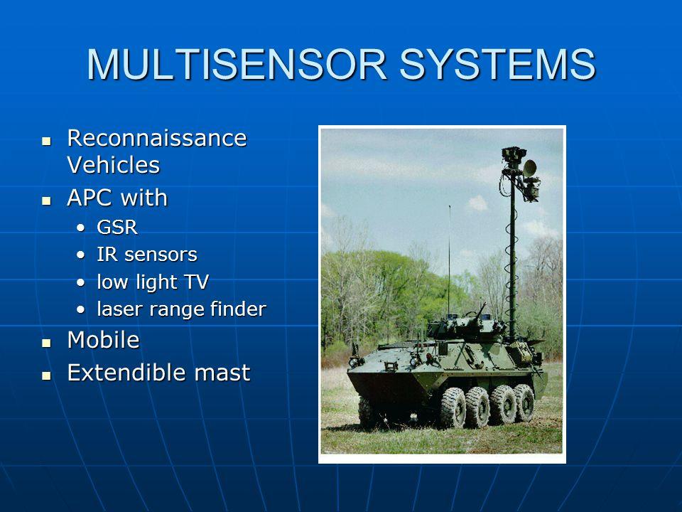 MULTISENSOR SYSTEMS Reconnaissance Vehicles Reconnaissance Vehicles APC with APC with GSRGSR IR sensorsIR sensors low light TVlow light TV laser range finderlaser range finder Mobile Mobile Extendible mast Extendible mast