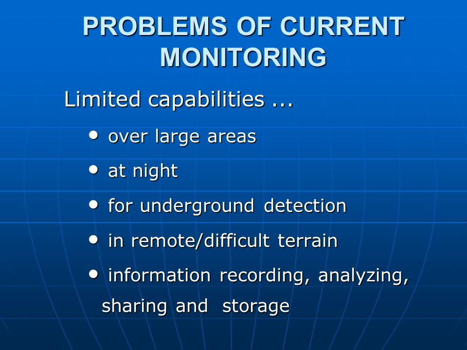 PROBLEMS OF CURRENT MONITORING Limited capabilities...