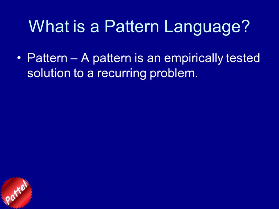 Example Pattern Name: Translating Multiple Representations Author: SDW Dates: Written December 2003; Last revised 1 December 2003 Context: Contributes to larger scale patterns Introducing New Topic, Lecture Design, Lab/Lecture Coordination, and Language Acquisition Headline: Chemists use multiple descriptions of the same process to emphasize particular aspects of the process, to make certain manipulations clearer and easier, and for typographical convenience.