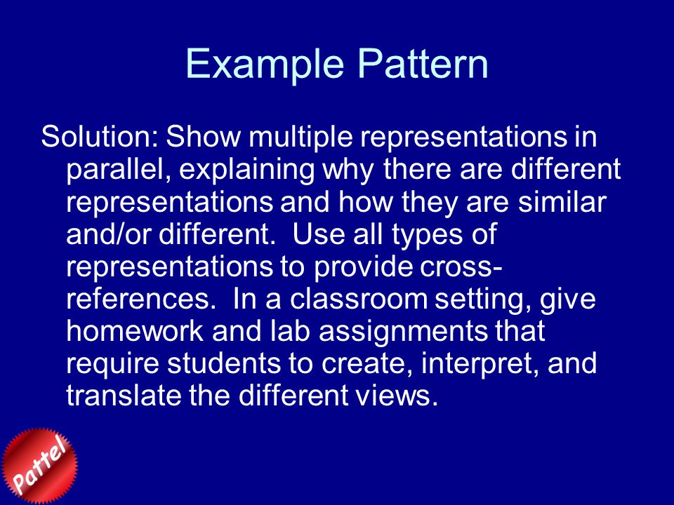 Example Pattern Examples:Currently, this section shows examples of the multiple representations that are appropriate for some different subjects, rather than explicit scripts for how one might use the different views in the course of a lecture or discussion.