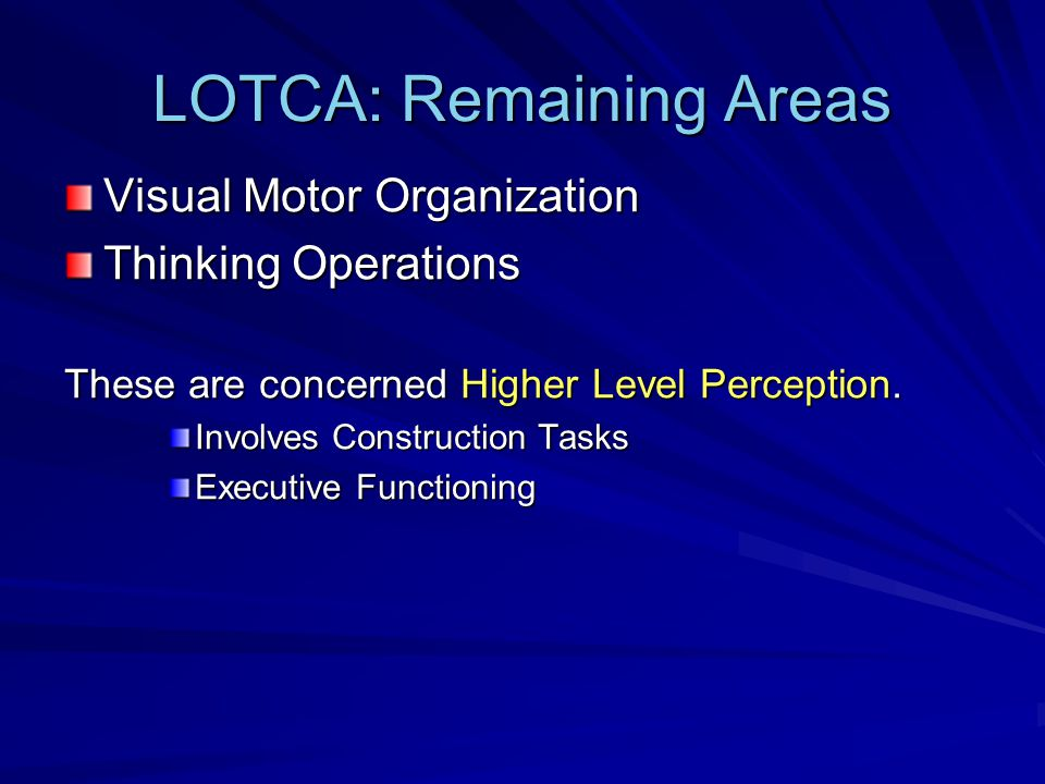 LOTCA: Remaining Areas Visual Motor Organization Thinking Operations These are concerned Higher Level Perception.