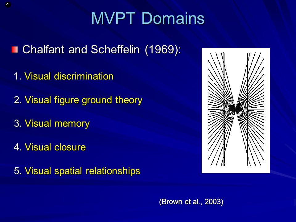 MVPT Domains Chalfant and Scheffelin (1969): 1. Visual discrimination 1. Visual discrimination 2. Visual figure ground theory 2. Visual figure ground
