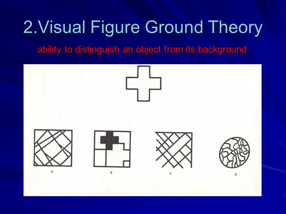 2.Visual Figure Ground Theory ability to distinguish an object from its background