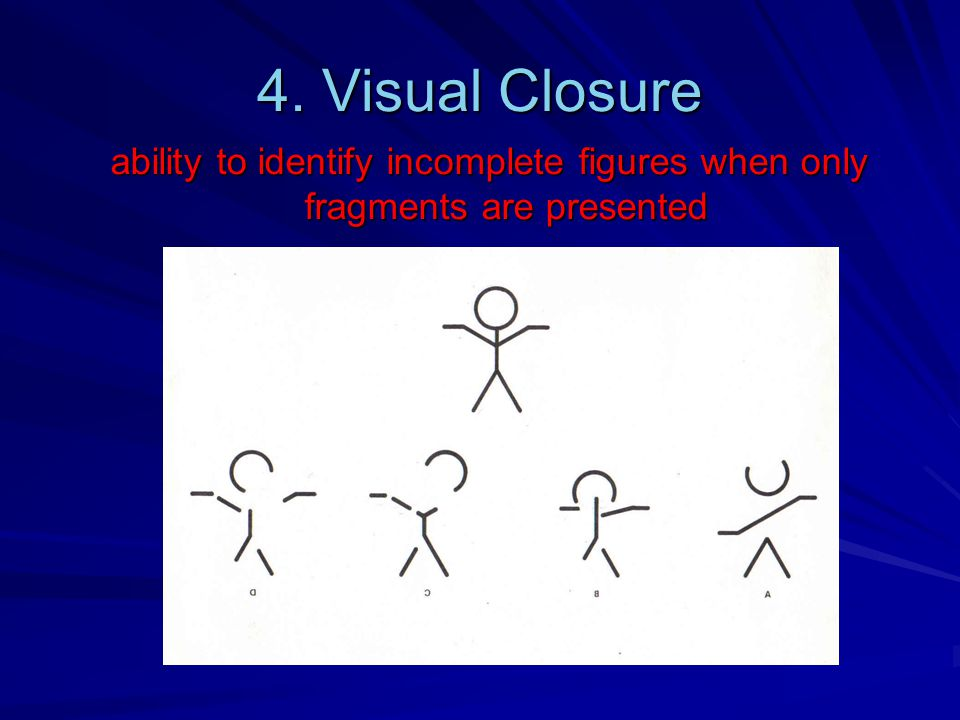 4. Visual Closure ability to identify incomplete figures when only fragments are presented