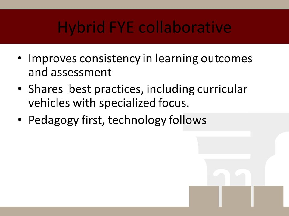 Hybrid FYE collaborative Improves consistency in learning outcomes and assessment Shares best practices, including curricular vehicles with specialized focus.