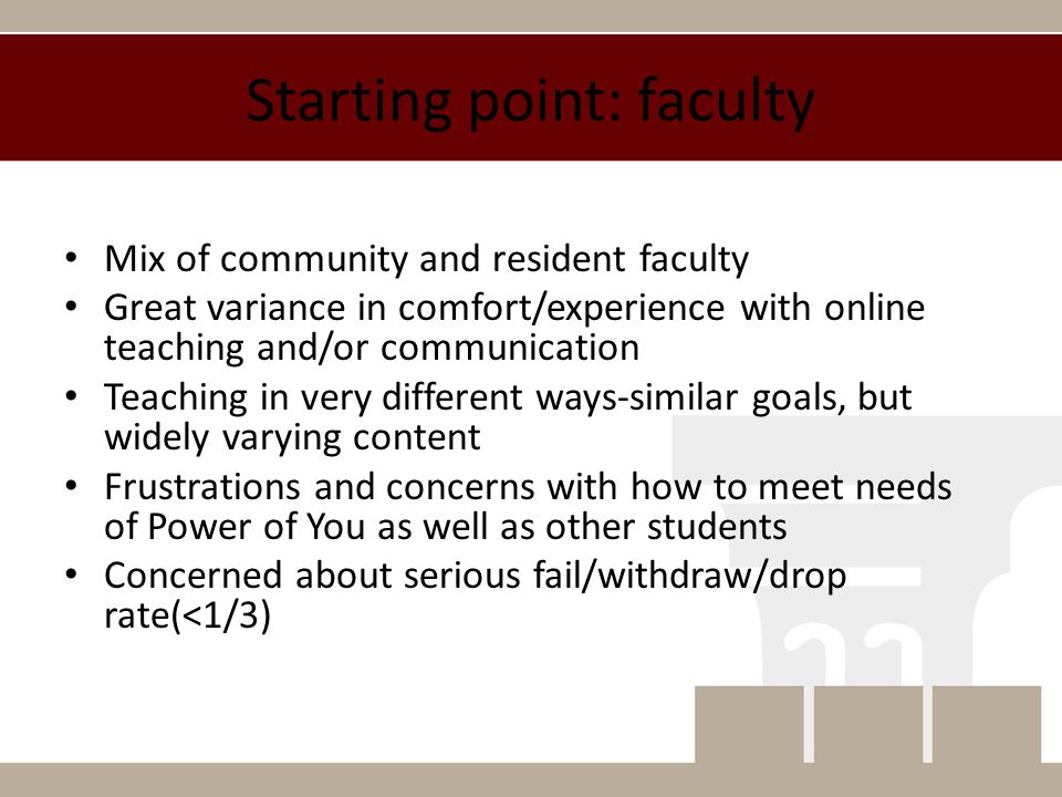 Sense of community: faculty Faculty receptive, if not ready to teach online.