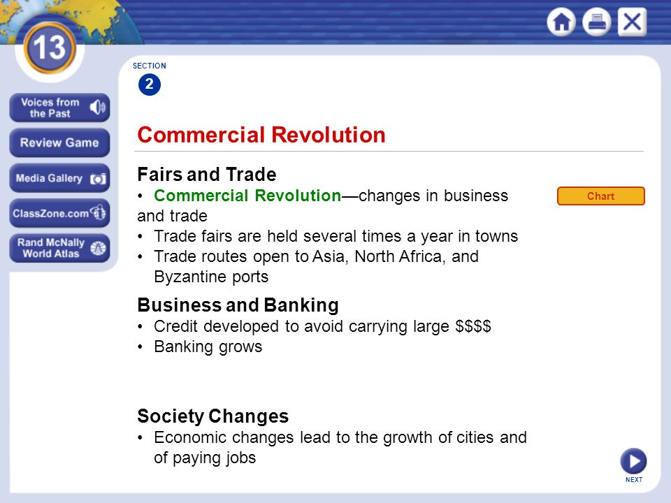 NEXT Commercial Revolution Fairs and Trade Commercial Revolution—changes in business and trade Trade fairs are held several times a year in towns Trade routes open to Asia, North Africa, and Byzantine ports SECTION 2 Business and Banking Credit developed to avoid carrying large $$$$ Banking grows Society Changes Economic changes lead to the growth of cities and of paying jobs Chart