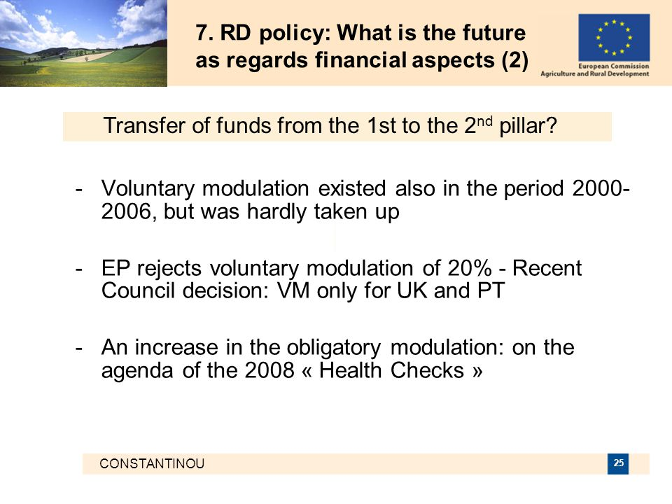 CONSTANTINOU 25 7. RD policy: What is the future as regards financial aspects (2) -Voluntary modulation existed also in the period 2000- 2006, but was