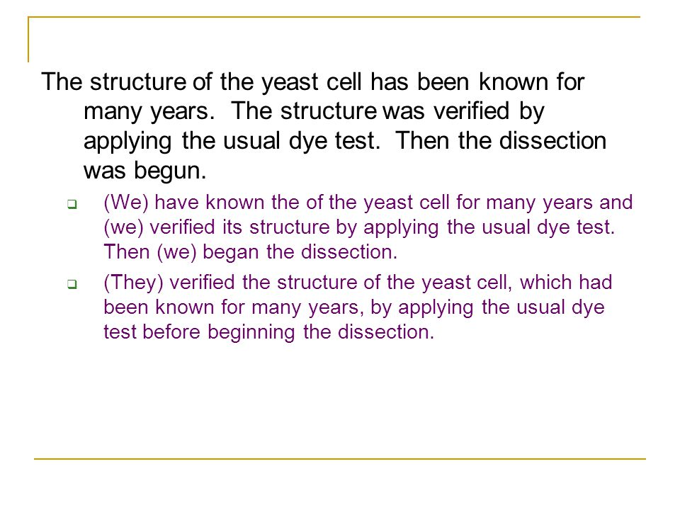 The structure of the yeast cell has been known for many years.