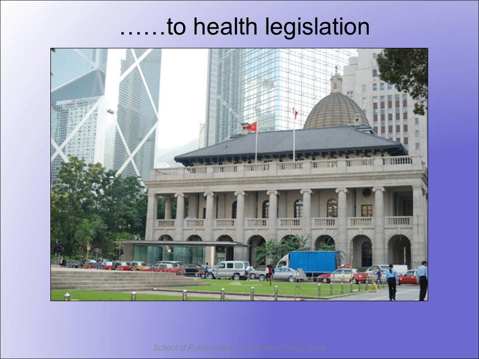 School of Public Health, University of Hong Kong ……to health legislation