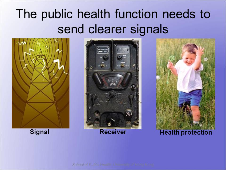 School of Public Health, University of Hong Kong Receiver Health protection The public health function needs to send clearer signals Signal