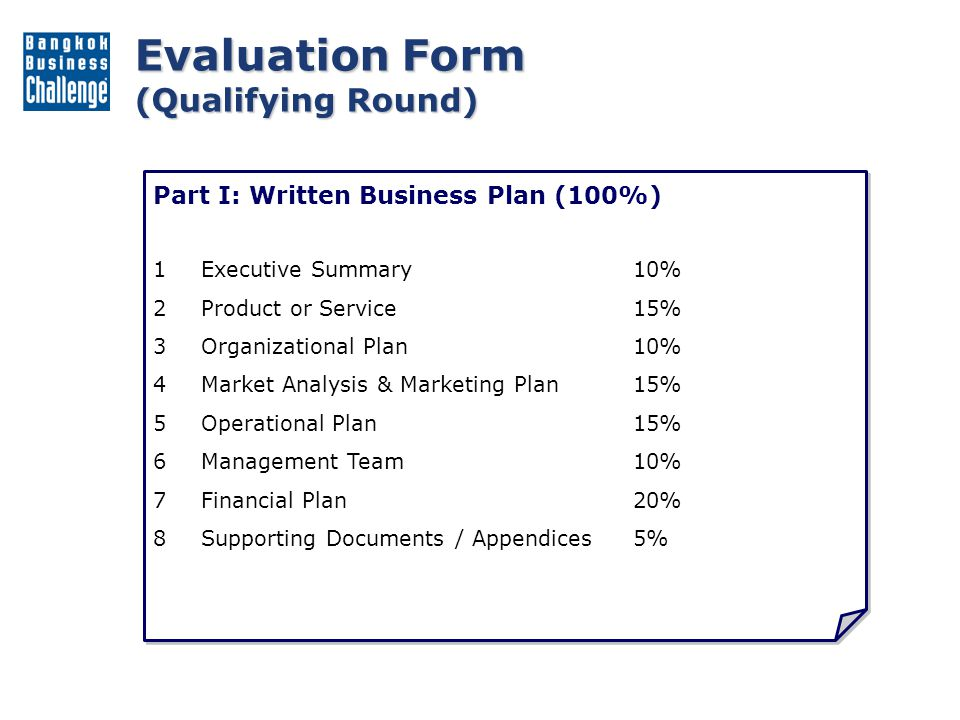 Evaluation Form (Divisional Round) Part I: Written Business Plan (60%) 1.Executive Summary5% 2.Product or Service15% 3.Organizational Plan10% 4.Market Analysis & Marketing Plan15% 5.Operational Plan15% 6.Management Team10% 7.Financial Plan15% 8.Investment Potential15% Part II: Presentation (40%) 1.Formal Presentation45% 2.Question & Answer45% 3.Venture Exhibit10% Part I: Written Business Plan (60%) 1.Executive Summary5% 2.Product or Service15% 3.Organizational Plan10% 4.Market Analysis & Marketing Plan15% 5.Operational Plan15% 6.Management Team10% 7.Financial Plan15% 8.Investment Potential15% Part II: Presentation (40%) 1.Formal Presentation45% 2.Question & Answer45% 3.Venture Exhibit10%