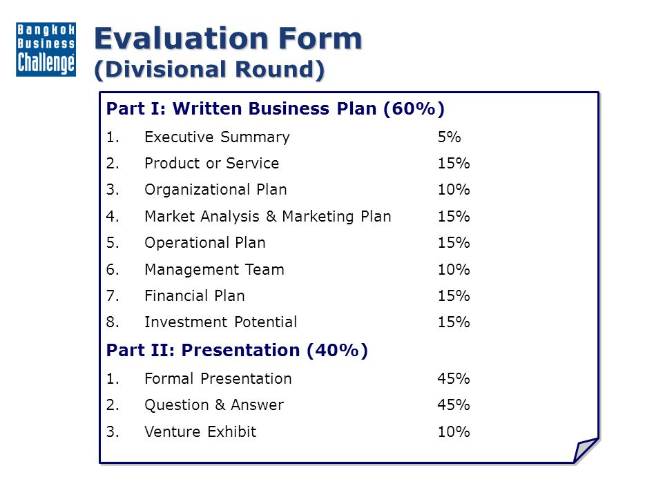 Evaluation Form (Final Round) Part I: Business Viability (60%) 1.Market Opportunity20% 2.Distinctive Competency20% 3.Management Capability20% 4.Financial Understanding20% 5.Investment Potential20% Part II: Presentation (40%) 1.Formal Presentation45% 2.Question & Answer45% 3.Venture Exhibit10% Part I: Business Viability (60%) 1.Market Opportunity20% 2.Distinctive Competency20% 3.Management Capability20% 4.Financial Understanding20% 5.Investment Potential20% Part II: Presentation (40%) 1.Formal Presentation45% 2.Question & Answer45% 3.Venture Exhibit10%