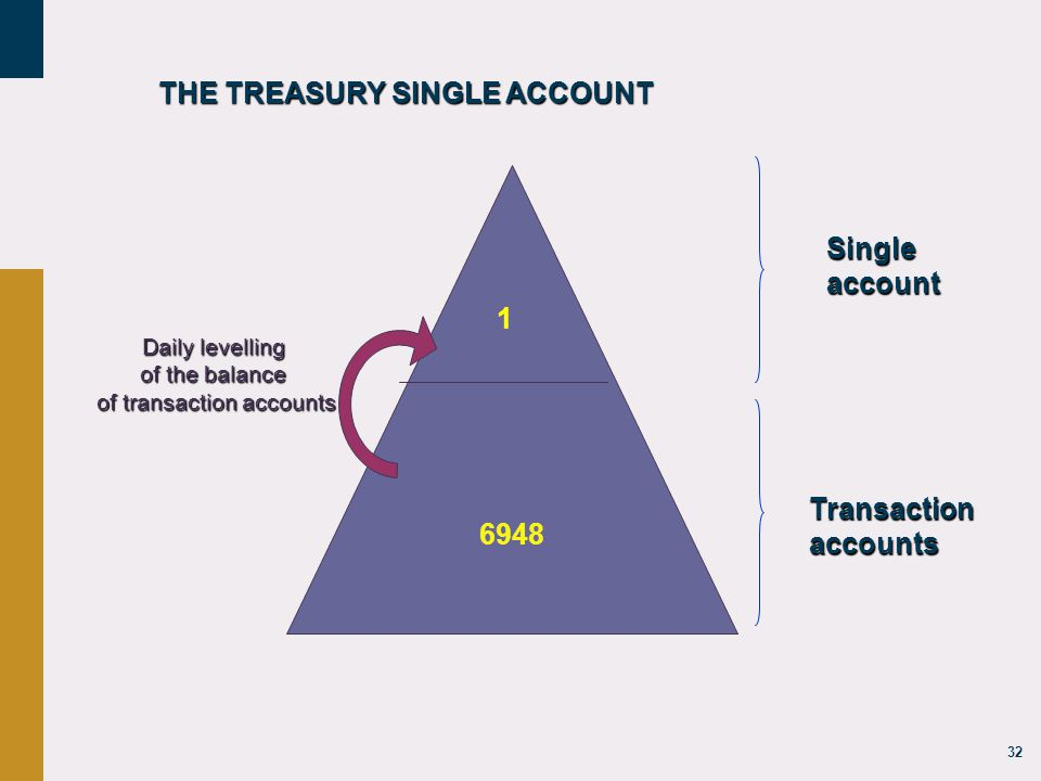 32 6948 Daily levelling of the balance of transaction accounts 1 Singleaccount Transaction accounts THE TREASURY SINGLE ACCOUNT