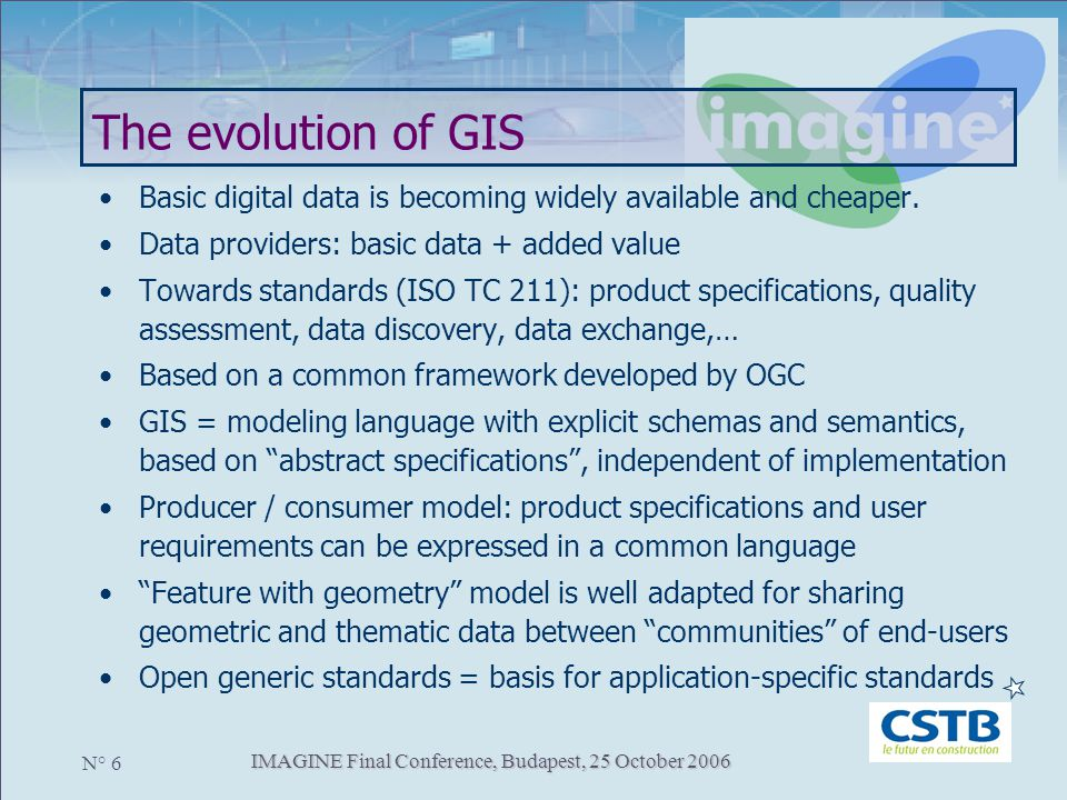 IMAGINE Final Conference, Budapest, 25 October 2006 N° 6 The evolution of GIS Basic digital data is becoming widely available and cheaper. Data provid