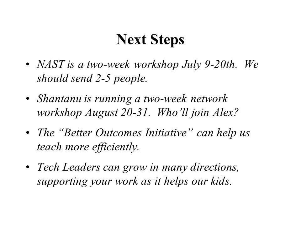 Next Steps NAST is a two-week workshop July 9-20th.