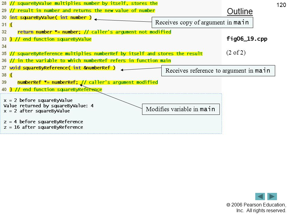  2006 Pearson Education, Inc. All rights reserved. 120 Outline fig06_19.cpp (2 of 2) Receives copy of argument in main Receives reference to argument