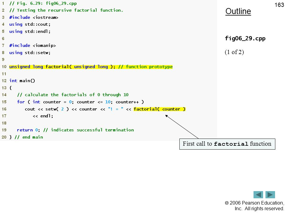  2006 Pearson Education, Inc. All rights reserved. 163 Outline fig06_29.cpp (1 of 2) First call to factorial function