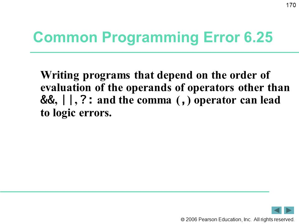  2006 Pearson Education, Inc. All rights reserved. 170 Common Programming Error 6.25 Writing programs that depend on the order of evaluation of the o
