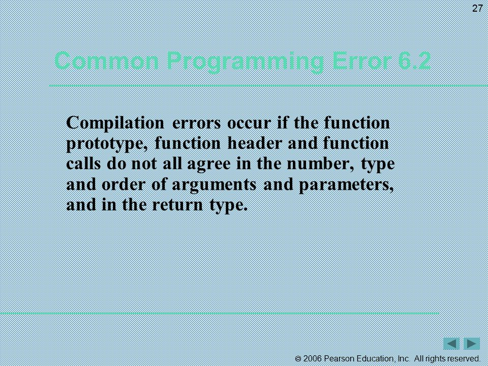  2006 Pearson Education, Inc. All rights reserved. 27 Common Programming Error 6.2 Compilation errors occur if the function prototype, function heade