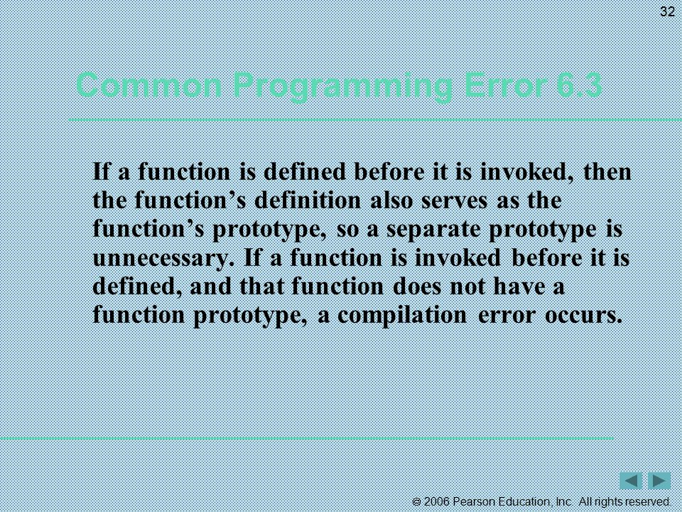  2006 Pearson Education, Inc. All rights reserved. 32 Common Programming Error 6.3 If a function is defined before it is invoked, then the function's