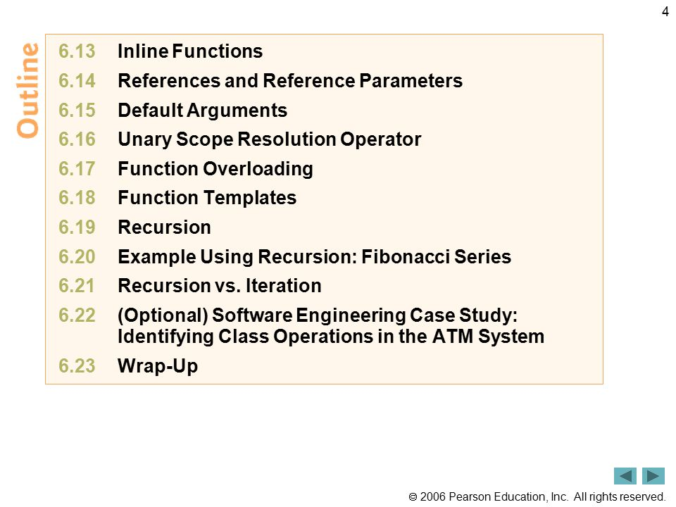  2006 Pearson Education, Inc. All rights reserved. 4 6.13 Inline Functions 6.14 References and Reference Parameters 6.15 Default Arguments 6.16 Unary