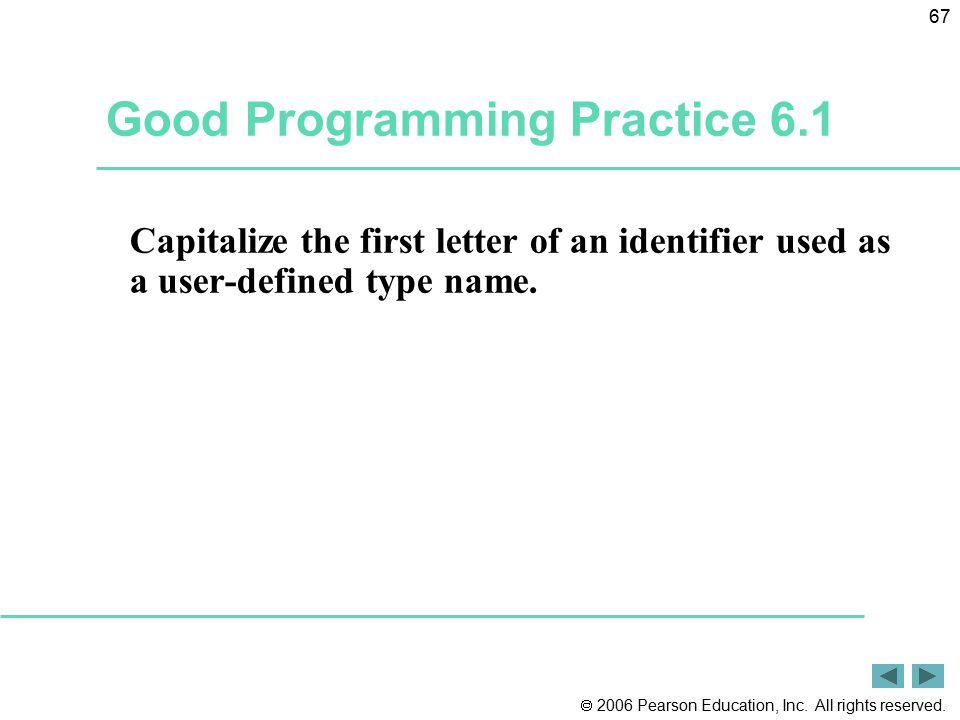  2006 Pearson Education, Inc. All rights reserved. 67 Good Programming Practice 6.1 Capitalize the first letter of an identifier used as a user-defin