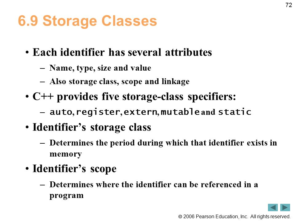  2006 Pearson Education, Inc. All rights reserved. 72 6.9 Storage Classes Each identifier has several attributes – Name, type, size and value – Also