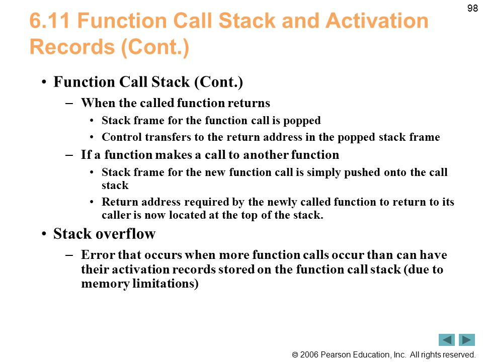  2006 Pearson Education, Inc. All rights reserved. 98 6.11 Function Call Stack and Activation Records (Cont.) Function Call Stack (Cont.) – When the