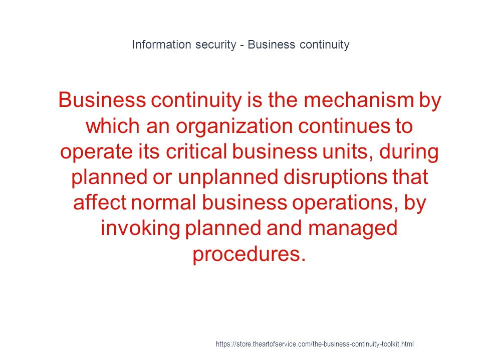 Disaster recovery plan - Relationship to the Business Continuity Plan 1 The Institute further states that a Business Continuity Plan (BCP) consists of the five component plans:[http://www.sans.org/reading_room/ whitepapers/recovery/disaster-recovery- plan_1164 The Disaster Recovery Plan.] Chad Bahan https://store.theartofservice.com/the-business-continuity-toolkit.html