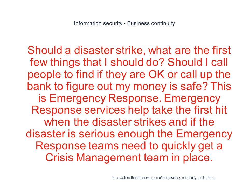 Disaster recovery and business continuity auditing - Insurance issues 1 Effective DR plans take into account the extent of a company s responsibilities to other entities and its ability to fulfill those commitments despite a major disaster https://store.theartofservice.com/the-business-continuity-toolkit.html