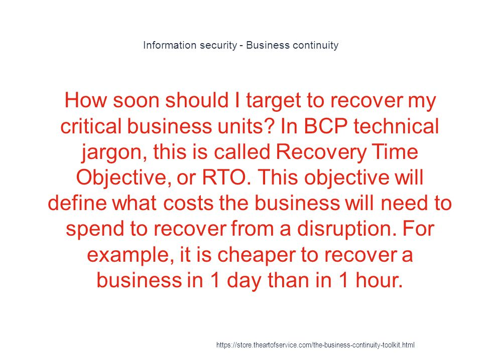 Business continuity planning - Business impact analysis (BIA) 1 The business requirements for recovery of the critical function, and/or https://store.theartofservice.com/the-business-continuity-toolkit.html
